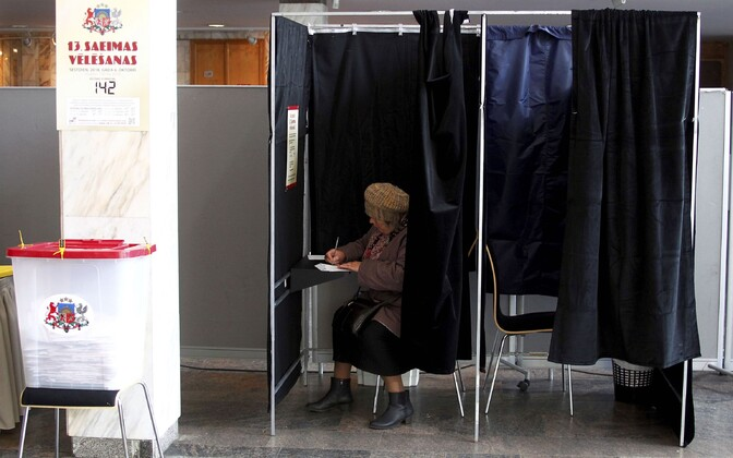 At a polling station in Riga.