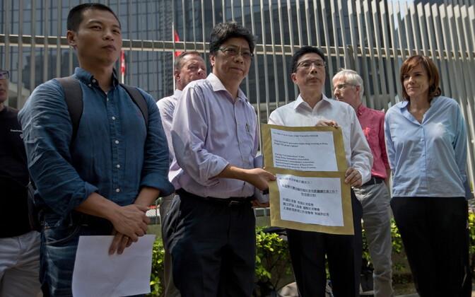 Haongkongi ajakirjanikud protestimas FT kolleegi Victor Malleti väljasaatmise vastu.