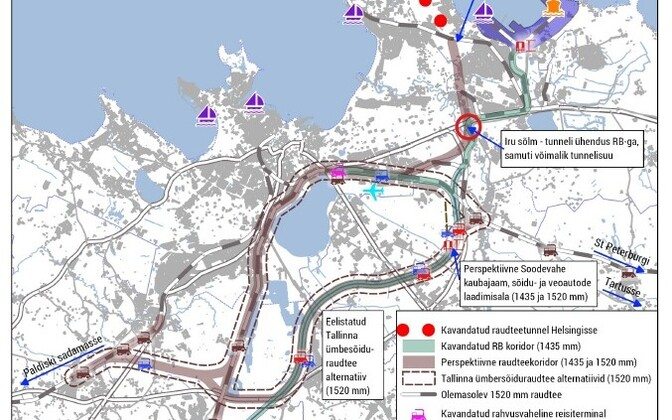 A map of a proposed ring railway bypassing Tallinn.