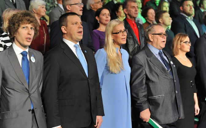 Leading Centre Party members including Prime Minister Jüri Ratas (second from left) at the party's recent congress.