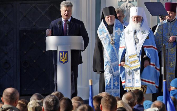 Ukraina president Petro Porošenko Kiievis 14. oktoobril kõnet pidamas.