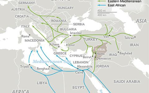 Süüria migrantide rändeteteede kaart.