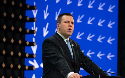 Prime Minister Jüri Ratas (Centre) speaking at the 2018 Tallinn Digital Summit. 16 October 2018.