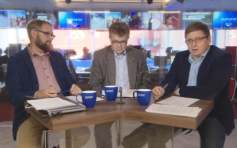 Anvar Samost, Juhan Kivirähk and Urmet Kook discussing the results of the October party ratings. 18 October 2018.