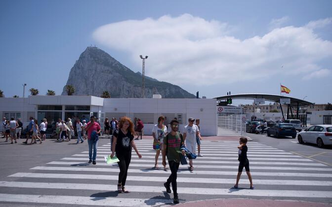 Piiripunkt Gibraltari ja Hispaania vahel.