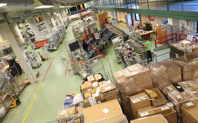 Packages at an Eesti Post (Omniva) logistics center.