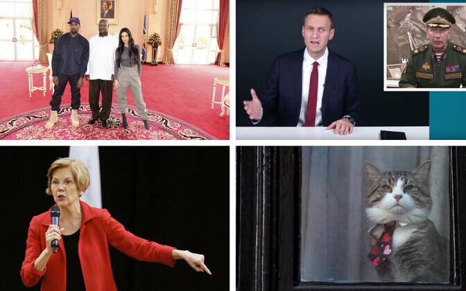 West ja Kardashian koos Uganda presidendiga (AP); Navalnõi vs Zolotov; senaator Warren (AFP); Assange'i kass Ecuadori saatkonna aknal (Reuters).
