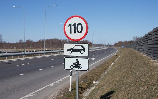 The summer time speed limit on Estonia's highways is 110 km/h.