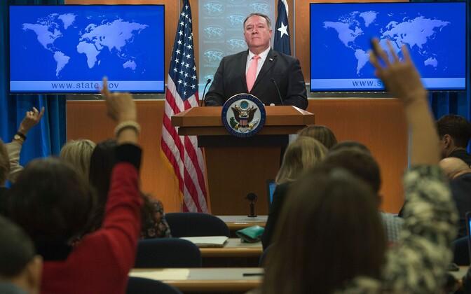 USA välisminister Mike Pompeo pressikonverentsil välisministeeriumis.