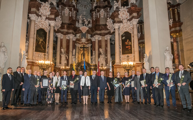 Winners of the 2018 Baltic Assembly medals in Vilnius on Thursday night. 25 October 2018.