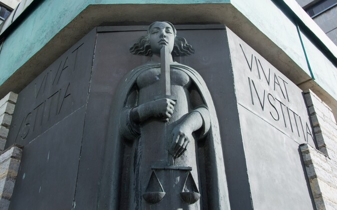 Statue of Lady Justice outside Harju County Court on Liivalaia street in Tallinn.