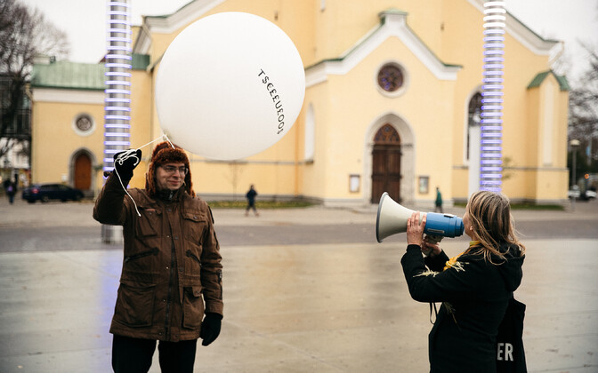 A performance staged by the Biodiversity Party in Tallinn's Freedom Square.