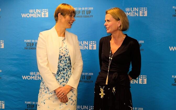 President Kersti Kaljulaid with Åsa Regnér, deputy head of UN Women, in New York on Wednesday. 31 October 2018.