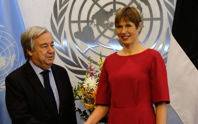 UN Secretary-General António Guterres and President Kersti Kaljulaid in New York on Thursday. 1 November 2018.