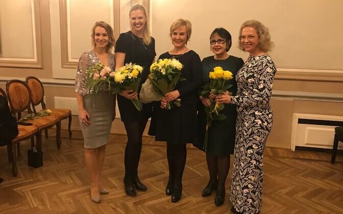 EENA noortejuht Lilian Promet, noor naisettevõtja 2018 Ann Runnel, aasta naine 2018 Eva Truuverk, aasta naise nominent Sirje Helme, EENA president Ester Eomois.