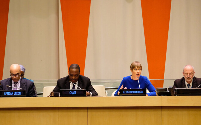 President Kersti Kaljulaid addressing the UN's African Group in New York on Friday. 2 November 2018. Exposure like this has made strides in Estonia's Un security council viability, which the impasse on the Global Migrant Compact may undo.