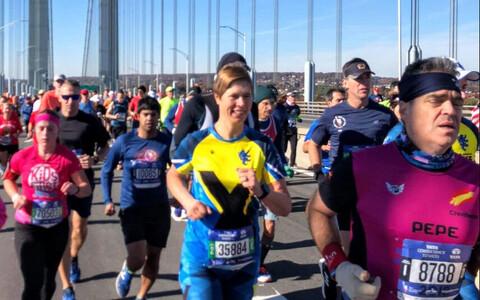President Kersti Kaljulaid running in the TCS New York City Marathon on Sunday. 4 November 2018.