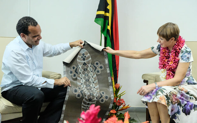 President Kersti Kaljulaid on a recent visit to Vanuatu. She is likely to face less cordial encounters than this as her country gears up for the UN Global Migration Compact.