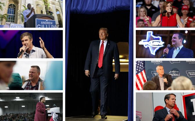 Vasakus tulbas demokraadid Gillum, O'Rourke, Tester ja Abrams, pareml vabariiklased   McSally, Cruz, Rosendale ja Kemp. Keskel president Trump.