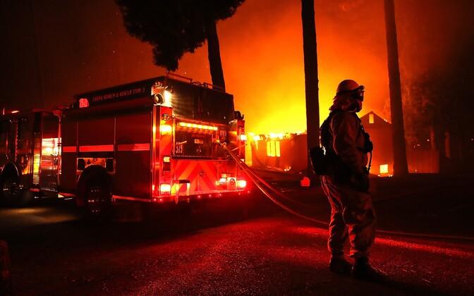 Пожарные борются с огнем в Парадайсе.