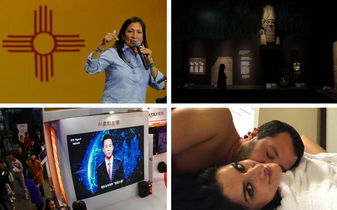 New Mexicost esindajatekotta valotud demokraat Deb Haaland (Reuters), Assüüria-teemaline näitus Briti Muuseumis (AP), Hiina AI-uudisteankur (AFP), Salvini ja tema nüüdseks juba endine elukaaslane Elisa Isoardi (Isoardi Instagram).