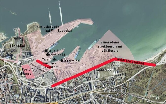 Reidi Road route (in red) from the harbour area (west) to Kadriorg).
