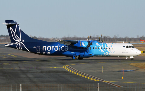 Turboprop plane in Nordica livery.
