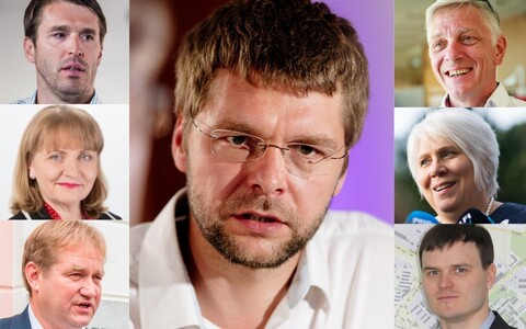 Some of SDE's main candidates. Centre: Jevgeni Ossinovski. Left, from top:  Rainer Vakra, Helmen Kütt, Ivari Padar. Right, from top: Indrek Tarand, Marina Kaljurand and Madis Kallas.