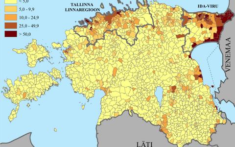 Vene keelt kõnelevate elanike osakaal Eesti maa- ja linnapiirkondades.