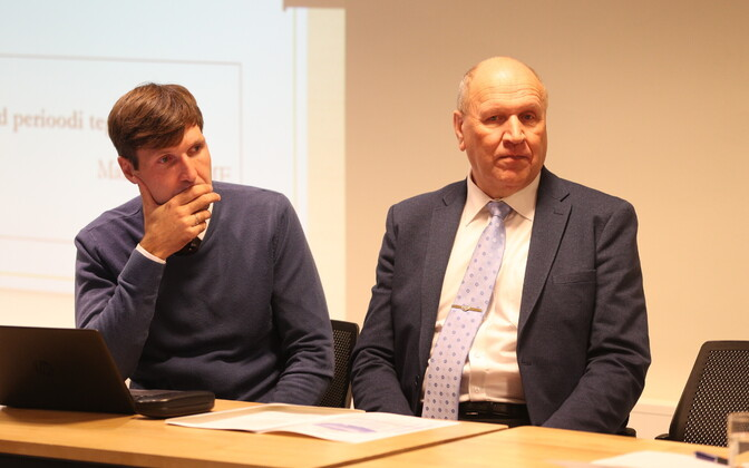 Martin Helme and Mart Helme at an EKRE council meeting.