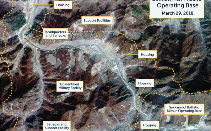 Satelliitpilt Sakkanmoli raketibaasist. Foto on tehtud 29. märtsil.