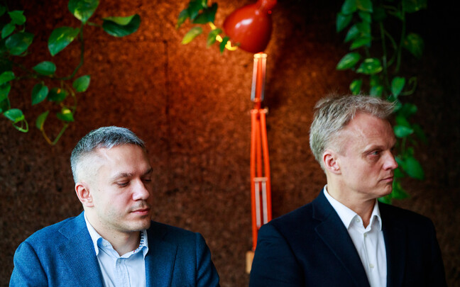 Andrei Korobeinik (left) and Andre Sooäär at Wednesday's press conference announcing their candidacy for the Centre Party.