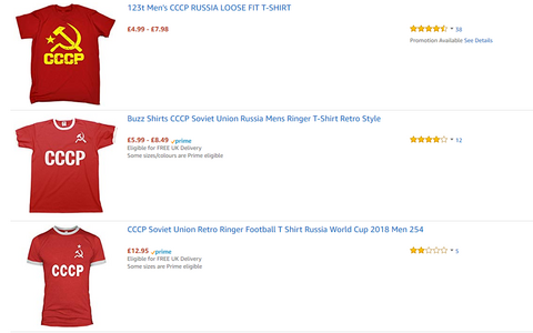 A selection of Soviet-themed T-shirts for sale on Amazon's UK site at press time.