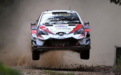 Ott Tänak in the Toyota Yaris-