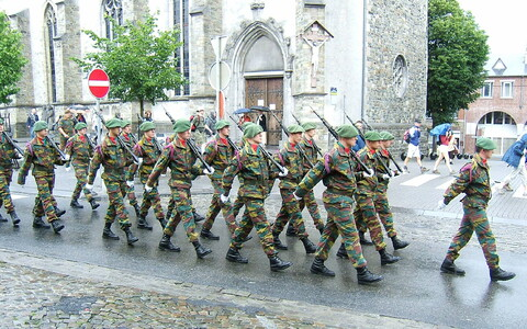 Soldiers of the Chasseurs Ardennais on parade in Bastogne.
