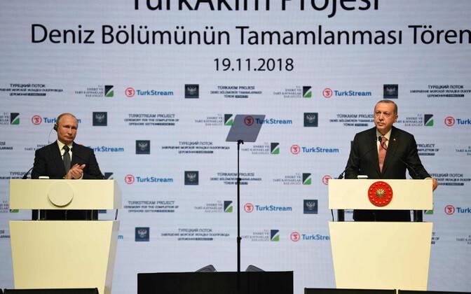 Владимир Путин и Реджеп Тайип Эрдоган на церемонии завершения строительства газопровода