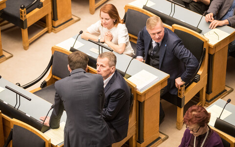 Reform Party parliamentary group members Jürgen Ligi, Keit Pentus-Rosimannus, Kalle Laanet in the Riigikogu.