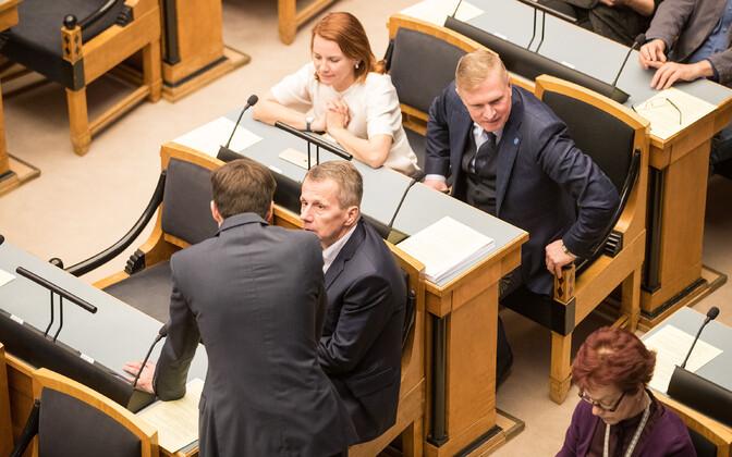 Reform Party parliamentary group members Jürgen Ligi, Keit Pentus-Rosimannus, Kalle Laanet in the Riigikogu.