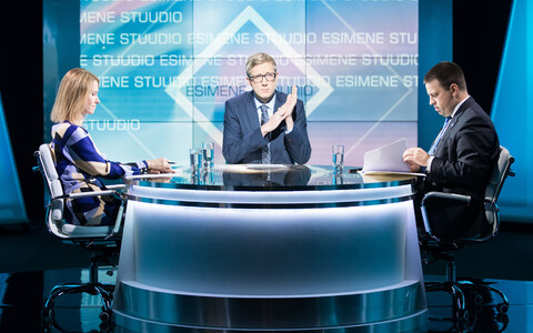 Reform chair Kaja Kallas and Centre chair and current Prime Minister Jüri Ratas on ETV's Esimene stuudio.