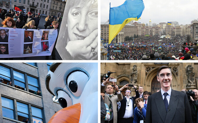 Galina Starovoitova fotoga plakat meeleavaldusel Peterburis 2008. aastal (TASS), Kiiev 2013. aasta 1. detsembril (Reuters), Tänupüha paraad New Yorgis (SIPA), Jacob Rees-Mogg (PA).