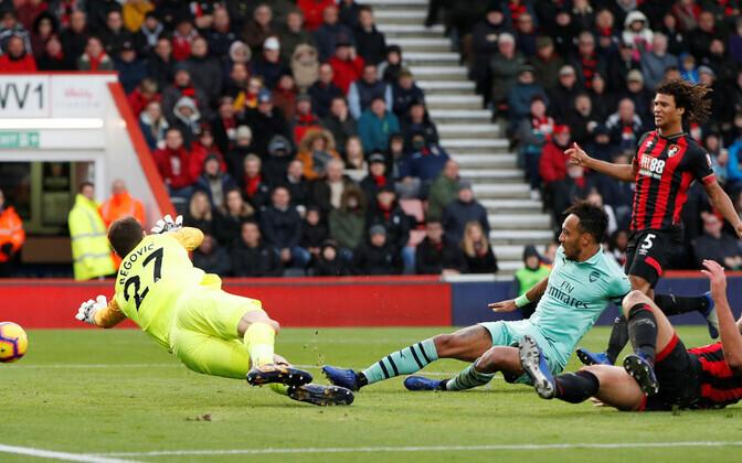 Pierre-Emerick Aubameyang vormistamas Arsenalile 2:1 võitu