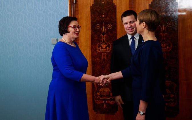 Katri Raik (left) follows Andres Anvelt as Estonia's minister of the interior.