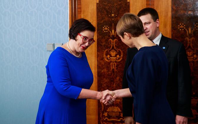 Катри Райк, Юри Ратас и Керсти Кальюлайд.