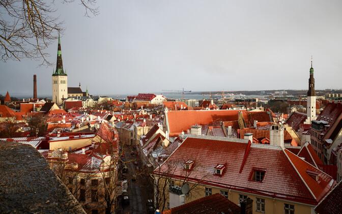 Sleet on Tallinn Old Town roofs.