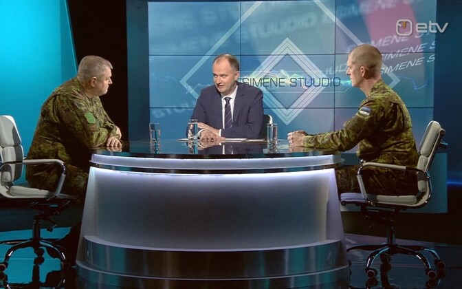 Riho Terras (left) and Martin Herem (right) talking to host Andres Kuusk.