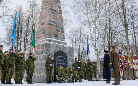 President Kersti Kaljulaid at the Battle of Riigiküla monument, 28 November 2018.