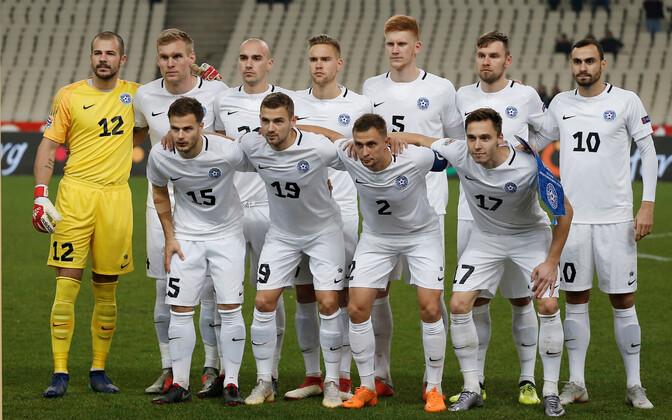 Eesti jalgpallikoondis enne Rahvuste liiga mängu Kreekaga.