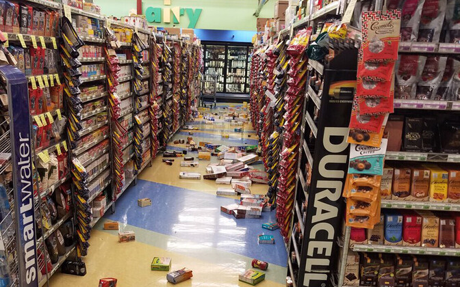 Kaup pärast maavärinat kaupluses laiali.