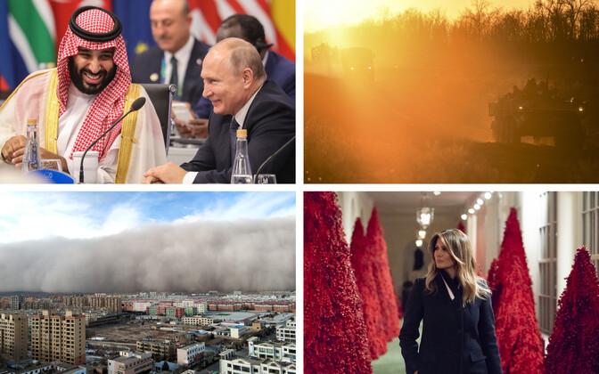 Saudi Araabia kroonprints ja president Putin (AFP), Ukraina soomukid Aasovi mere rannikul (AP), liivatorm Hiinas Zhangye linnas (Reuters), Melania Trump ja Valge Maja punased jõulukuused (Zuma Press).