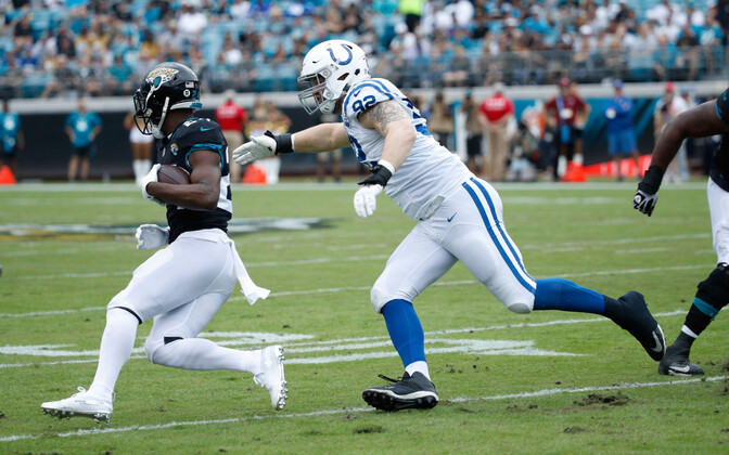 Margus Hunt (92) in action against the Jacksonville Jaguars at the beginning of December.